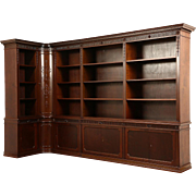"Library Corner Bookcase, Scandinavian 1920 Antique Carved Walnut, 9' 1"" wide"