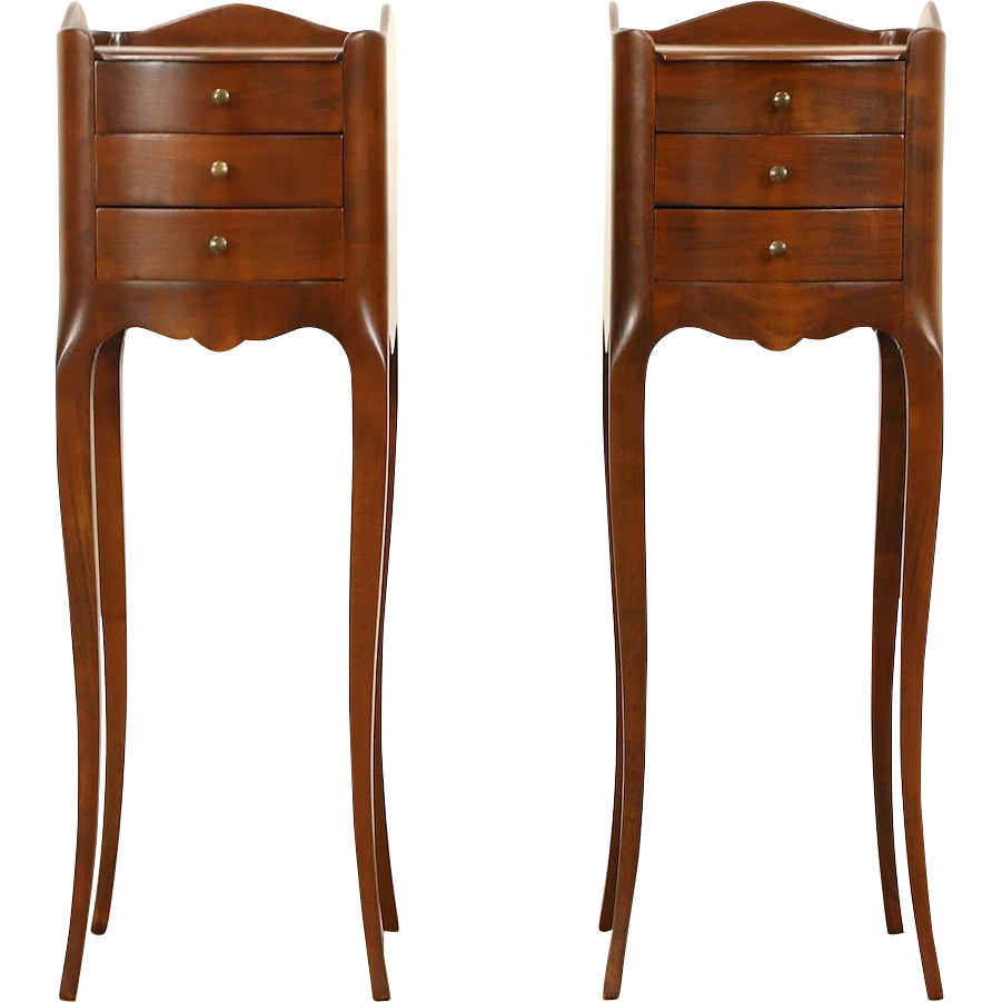 Pair of Tiny French Fruitwood 1940's Vintage Nightstands or End Tables