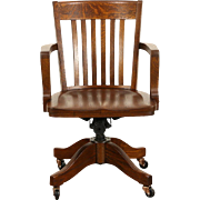 Oak Swivel Adjustable 1910 Antique Desk Chair, Signed Colonial of Chicago