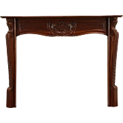 Mahogany Vintage Hand Carved Fireplace Mantel