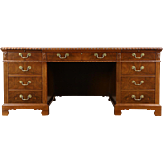 Executive 6' Library Desk, 1940 Vintage Walnut, Burl & Ebony, Signed Lincoln