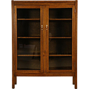 Arts & Crafts Mission Oak 1905 Antique Craftsman Bookcase, 2 Glass Doors