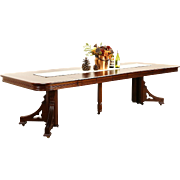 Victorian Eastlake 1885 Antique Mahogany Dining Table, 6 Leaves, Extends 9' 10""