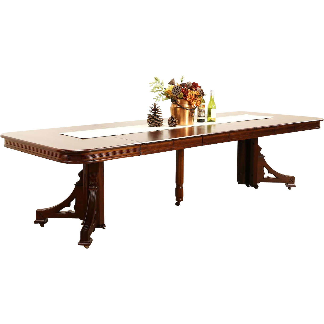 """Victorian Eastlake 1885 Antique Mahogany Dining Table, 6 Leaves, Extends 9' 10"""""""
