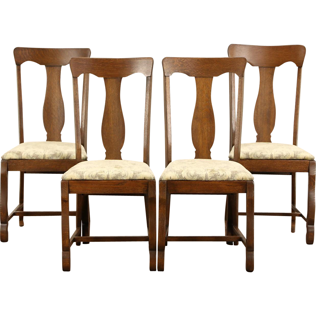 Set of 4 Antique 1900 Oak Dining or Game Table Chairs, New Upholstery