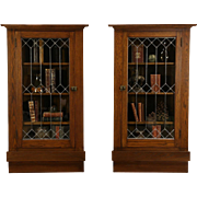 Pair Arts & Crafts Mission Oak 1905 Antique Corner Cabinets, Leaded Glass Doors