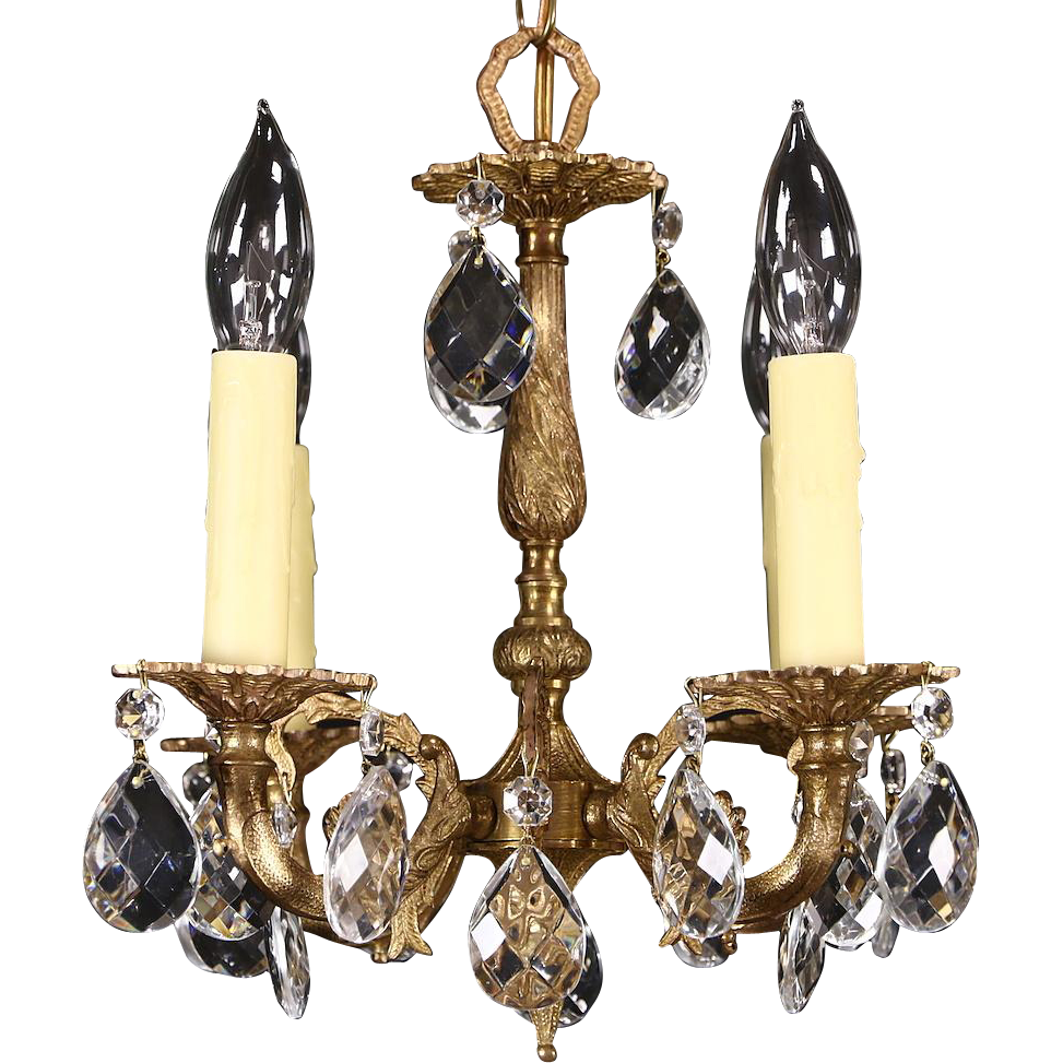Brass & Crystal Vintage Small Chandelier, 4 Candles