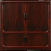 Rosewood Mid Century Modern 1970 Vintage Danish Cabinet, Tambour Doors