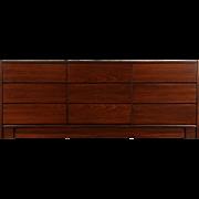 Rosewood Midcentury Modern Vintage 9 Drawer Credenza or Dresser, Signed