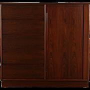 Rosewood Midcentury Modern Danish Vintage Tall Chest & Tambour Door Cabinet
