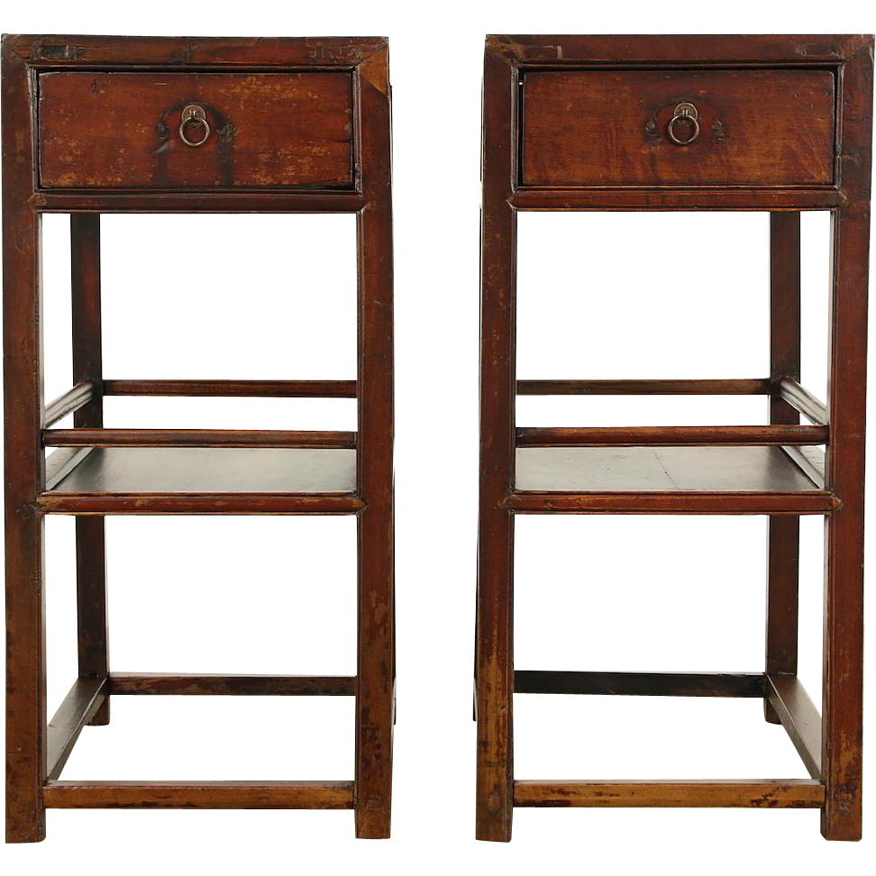 Pair Chinese 1900 Antique Hand Crafted Ash End Tables or Nightstands