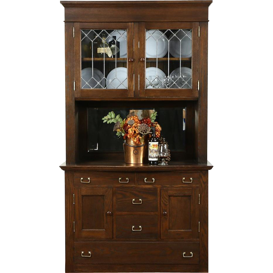 Oak 1900 Antique Pantry Cabinet, Sideboard & China, Leaded Glass Doors