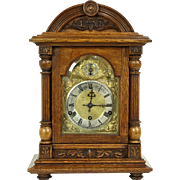 Kienzle Signed German 1900 Antique Carved Oak Clock, Westminster Chime