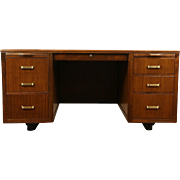 Midcentury Modern 1950's Vintage Executive Desk, Signed Leopold Chicago