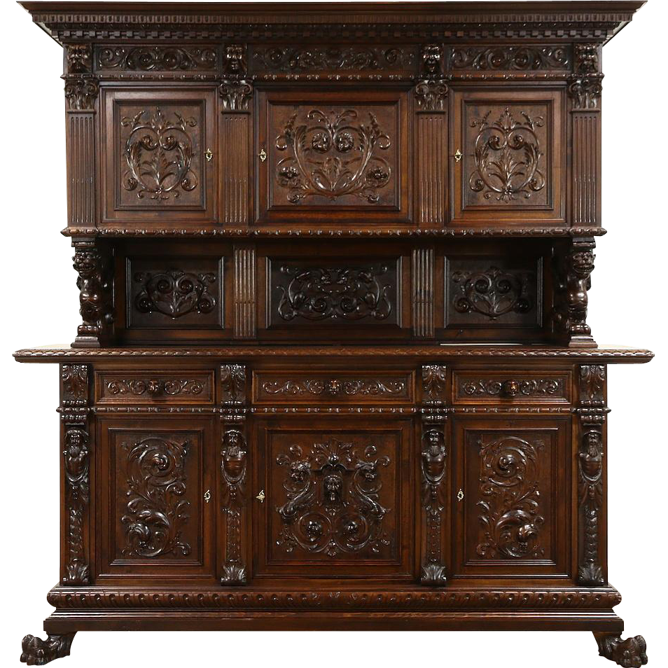 Renaissance Italian 1900 Antique Sideboard Cabinet, Hand Carved Lions & Figures