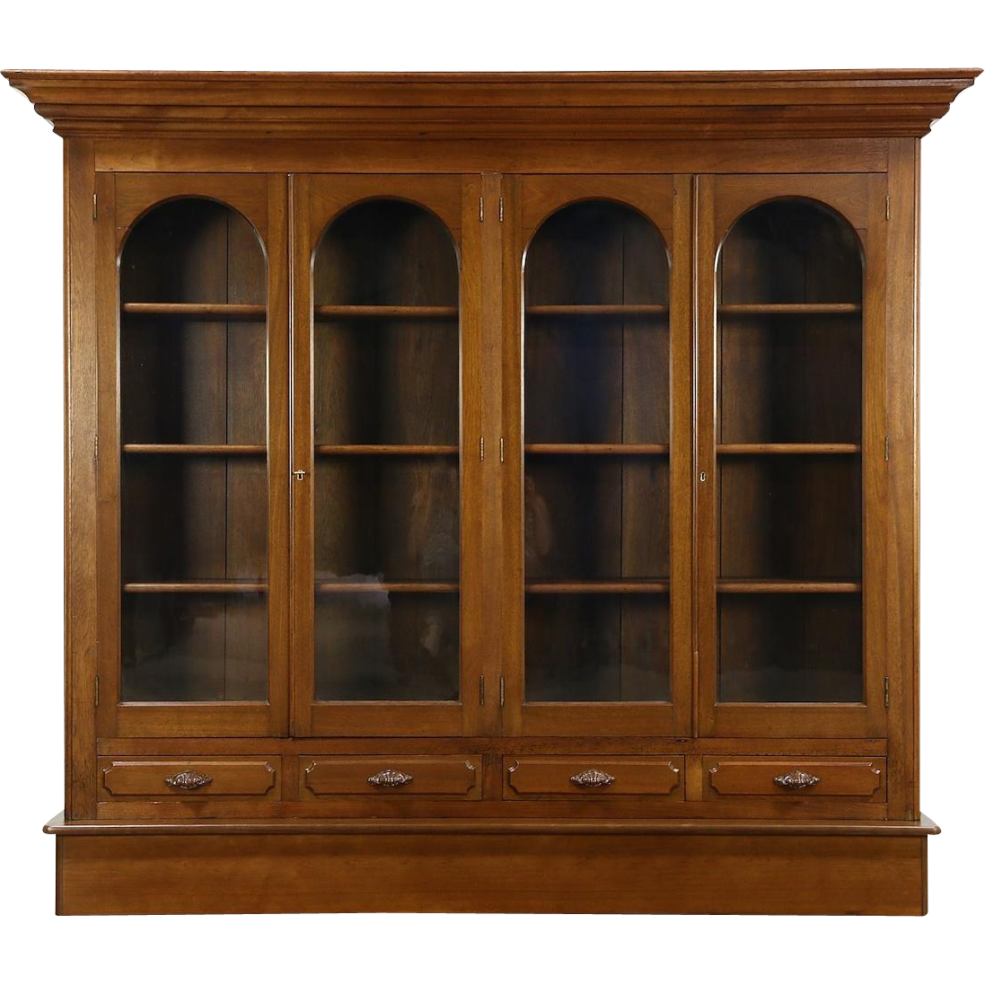 Victorian 1860 Antique Walnut Bookcase, 4 Wavy Glass Arched Doors