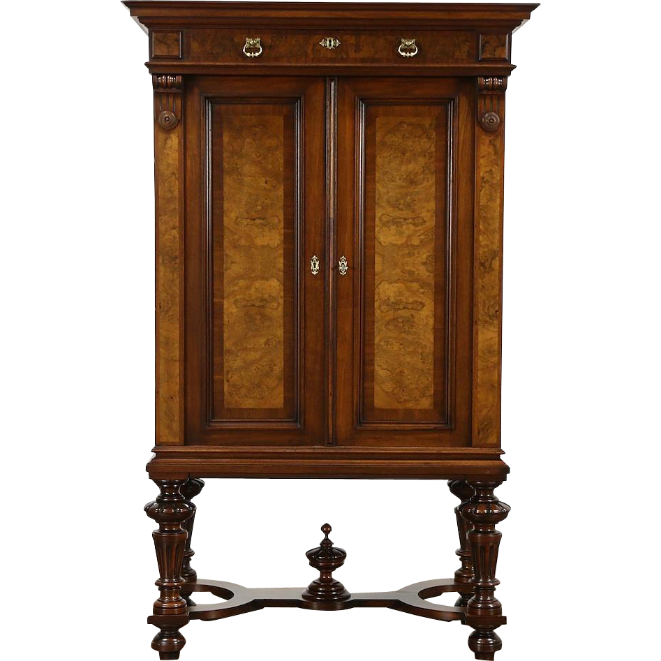 Austrian 1890 Antique Walnut & Burl Collector, Bar or Silver Cabinet