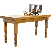 Butcher Block 1910 Antique Maple 6' Work Table, Kitchen Island or Counter
