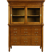 Oak 1900 Antique 6 Drawer File & Glass Door Cabinet, Wis. State Capitol