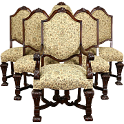 Renaissance Carved Set of 6 (5+1) Antique 1920's Dining Chairs, New Upholstery