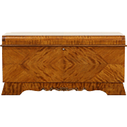 Waterfall Art Deco 1940 Vintage Cedar Lined Blanket Chest, Signed Lane