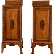 Pair 1915 Antique Walnut & Rosewood Nightstands, Burl Medallions