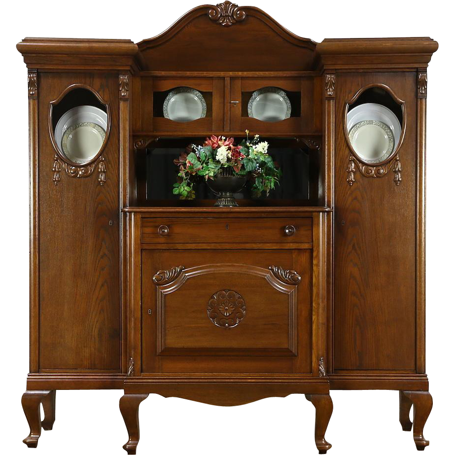 Oak 1915 Antique Sideboard Server Bar Cabinet, Beveled Mirror, Belgium