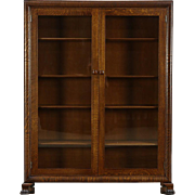 Oak 1900 Antique Library Bookcase, Glass Doors, Lion Paw Feet