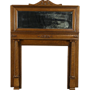 Oak Fireplace Mantel, Columns & Mirror, 1900 Antique Architectural Salvage
