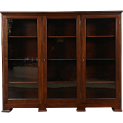 "Triple Mahogany 1910 Antique LIbrary Bookcase, 12"" Deep for Records"
