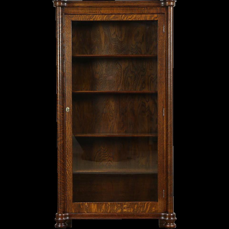 Oak 1900 Antique Display Cabinet or Bookcase, Glass Door