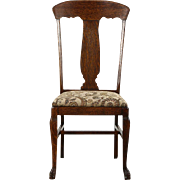 Oak Quarter Sawn 1900 Antique Desk or Side Chair, New Upholstery