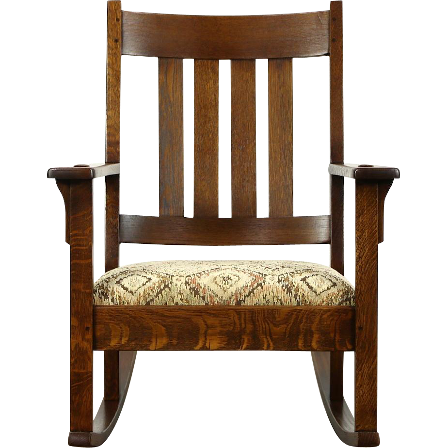 Arts & Crafts Mission Oak 1905 Antique Rocker, New Upholstery, Signed Young NY