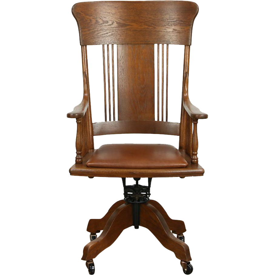 Oak 1910 Antique Adjustable Swivel Desk Chair, Leather Seat