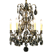 Brass Vintage Chandelier, 6 Candles, Giant Cut Crystal Prisms & Ball