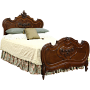 French Queen Size 1900 Antique Walnut Bed, Carved Roses & Shells