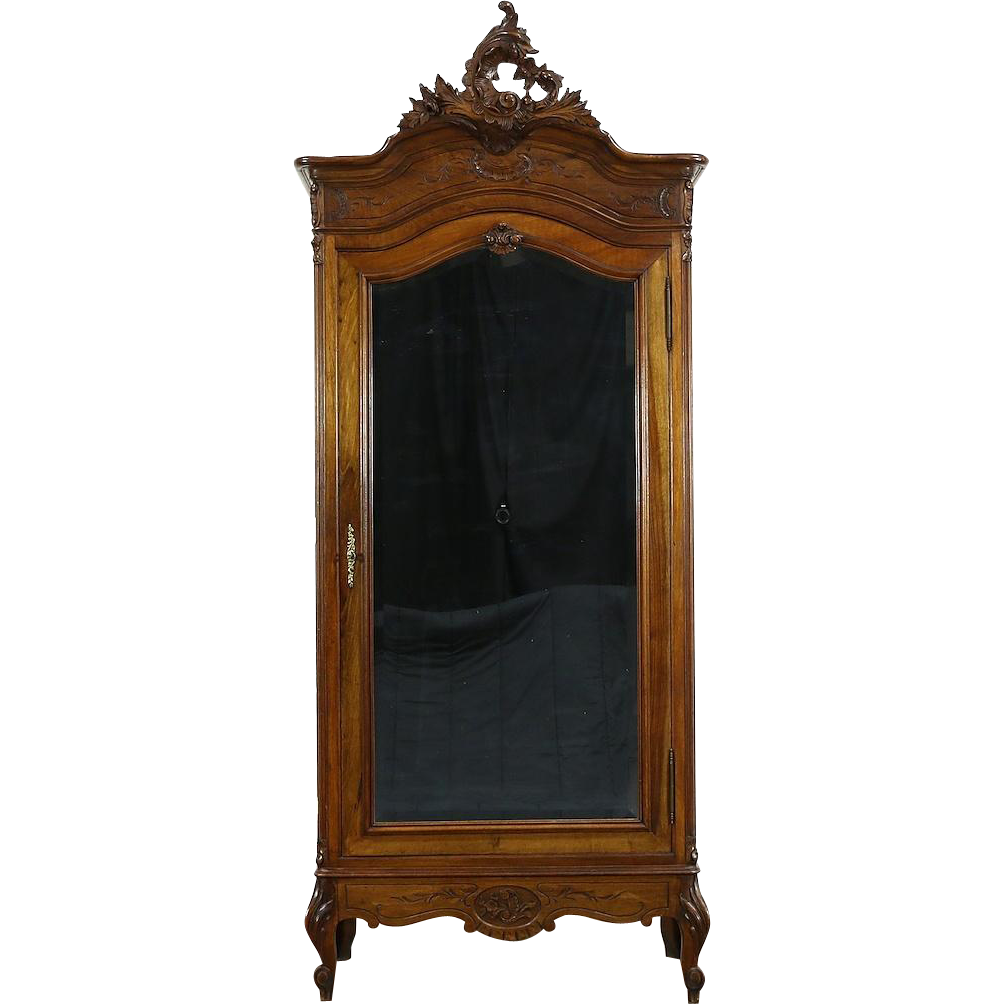 French Carved Walnut 1900 Antique Armoire, Beveled Mirror Door