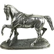 Pewter Horse Sculpture, 1900's Antique Statue, Signed