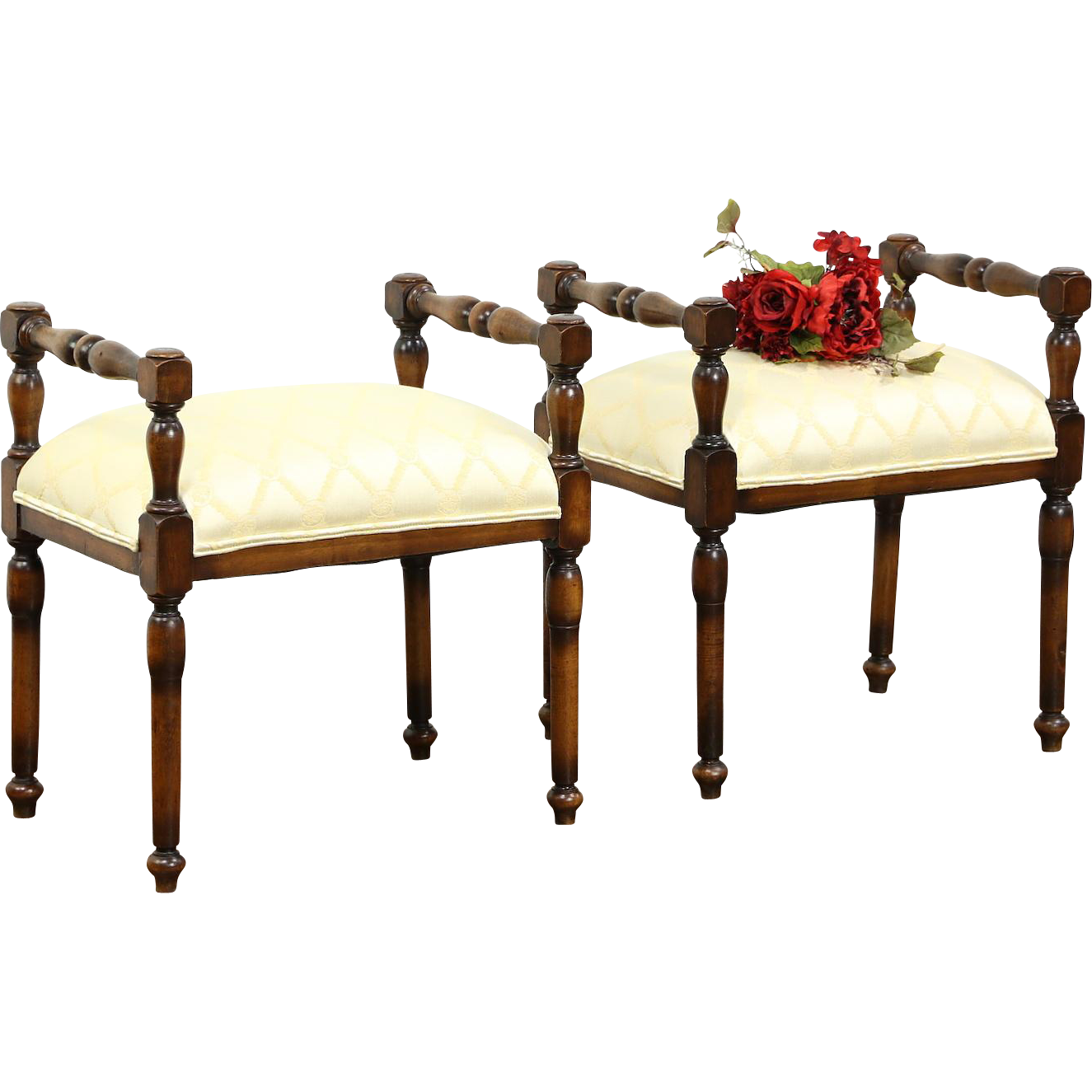 Pair Italian 1910 Antique Benches, New Upholstery