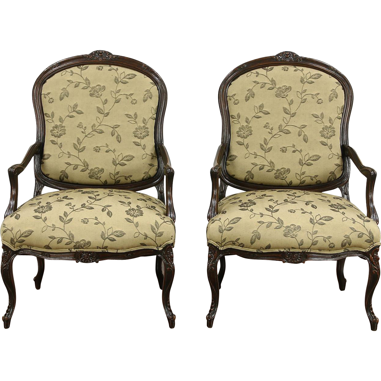 Pair Country French Carved Walnut 1930's Vintage Chairs, New Upholstery