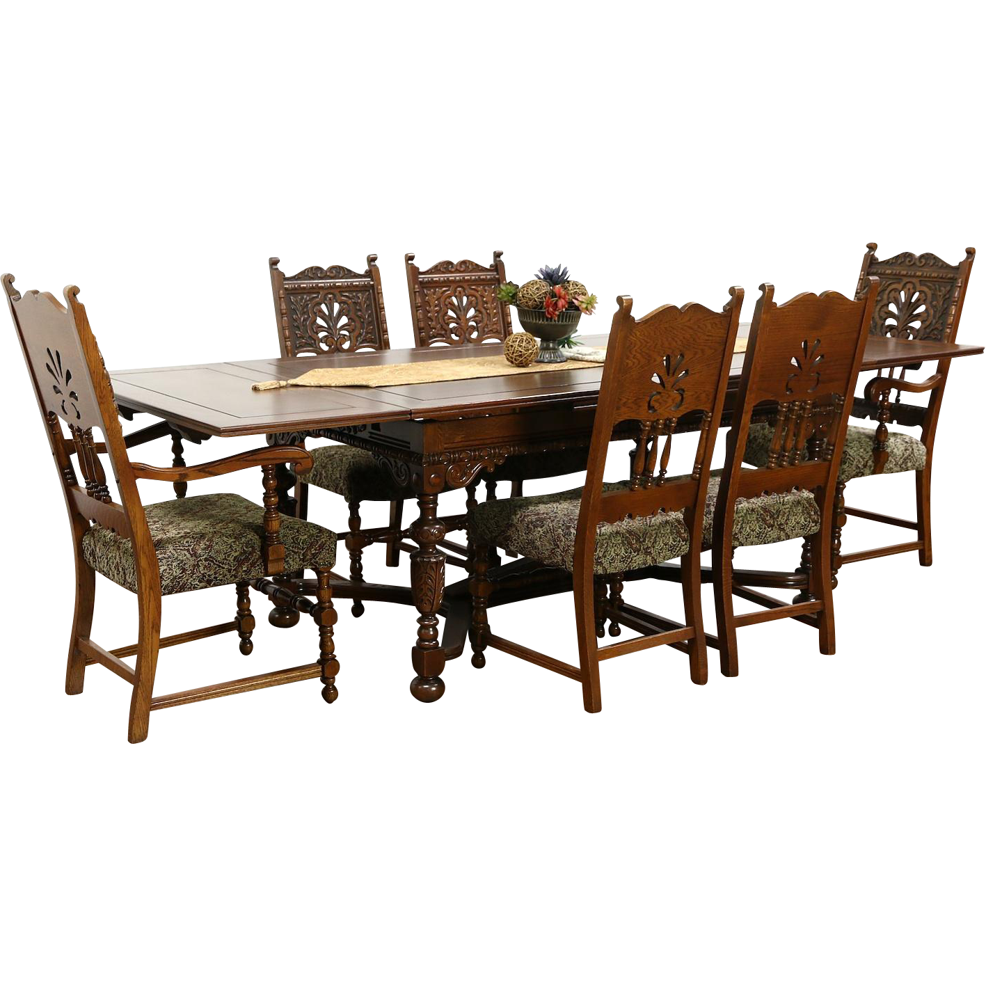 English Tudor 1925 Antique Carved Oak Dining Set, Table 2 Leaves, 6 Chairs
