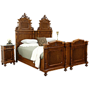 Italian 1900 Antique Bedroom Set, King Size Bed, 2 Nightstands, Carved Angels