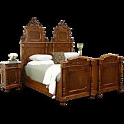 Italian 1900 Antique Bedroom Set, King Size Bed, 2 Nightstands, Carved Angels
