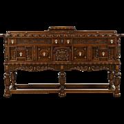 English Tudor 1925 Antique Carved Oak Server, Sideboard or Buffet