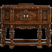 English Tudor 1925 Antique Carved Oak Hunt Board, Sideboard, Server or Console