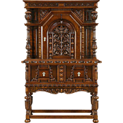 English Tudor 1925 Antique Carved Oak China or Bar Cabinet