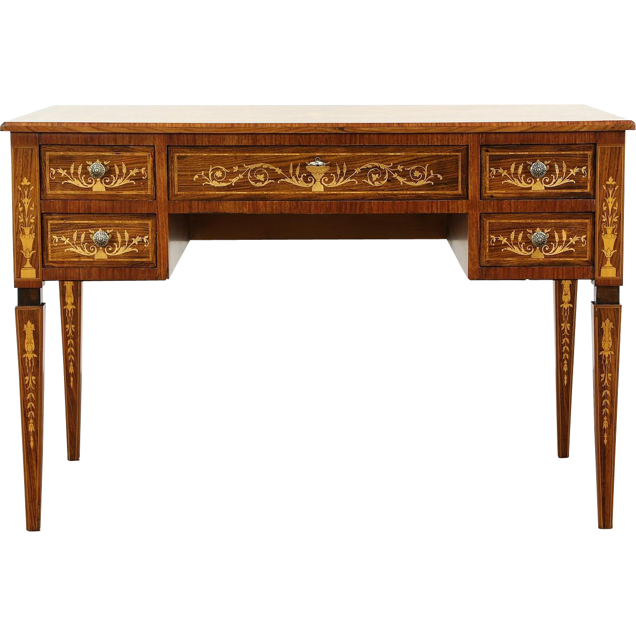 Italian Rosewood & Tulipwood 1940's Vintage Marquetry Library Desk