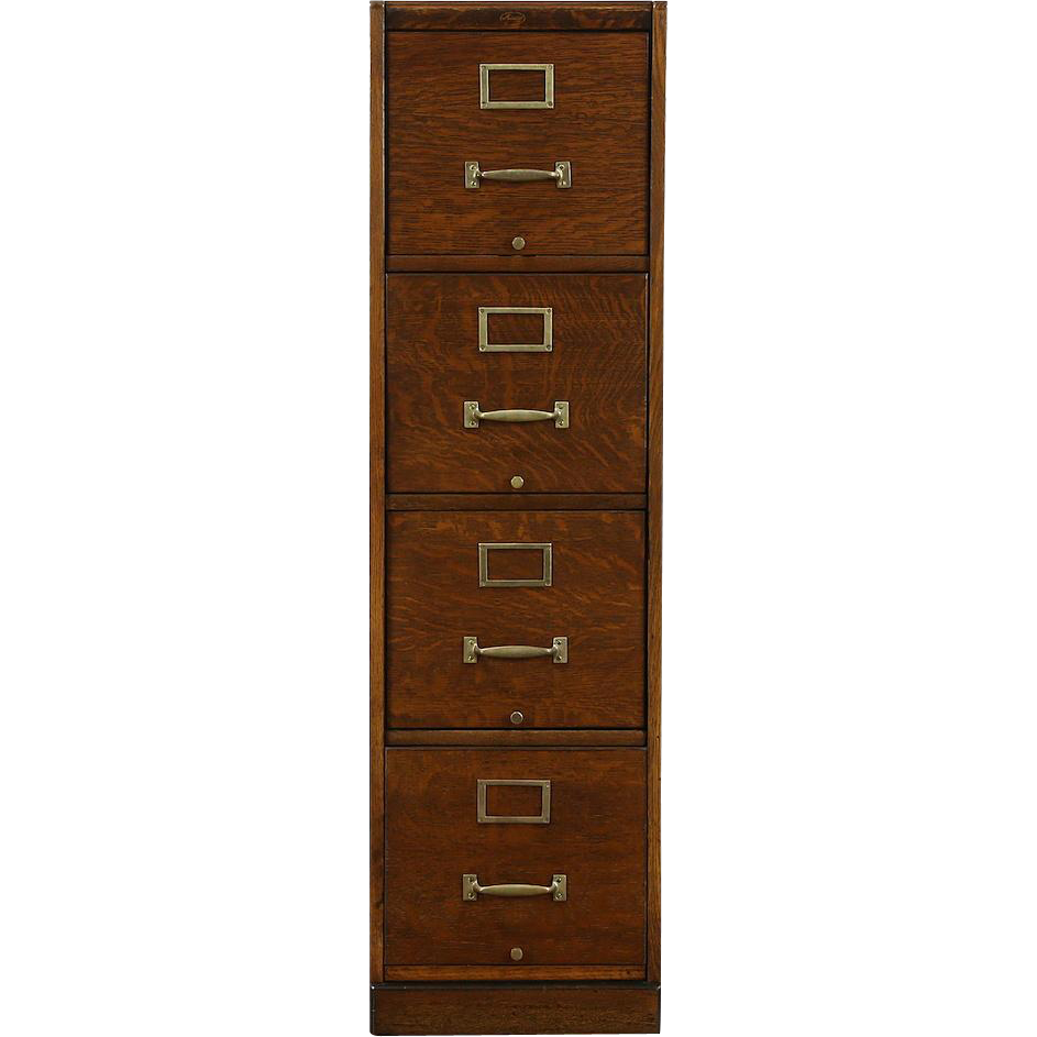 Oak 1910 Library or Office 4 Drawer File Cabinet, Signed Macy
