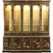 Drexel Heritage Vintage Breakfront China Cabinet, Chinese Lacquer & Painting