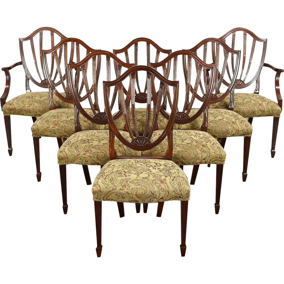 Set of 8 Baker Historic Charleston Signed Dining Chairs, New Upholstery